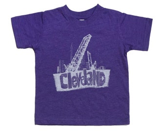 Youth and Toddler Tee - 'Cleveland Bridges' on Vintage Purple