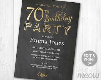 70th Birthday Invitations Elegant Gold Party Invite 70 Chalk SEVENTY Mens Womens INSTANT DOWNLOAD Editable Digital pdf Printable Personalize