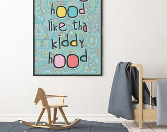 Printable Nursery Decor Art Print African Print Instant Download Wall Art Ain't No Hood Typography Posters  prints for kids wall shelf