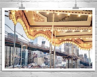 Janes Carousel, Brooklyn Bridge Art, New York City, NYC Photo, Manhattan Art, Brooklyn Picture, Merry Go Round, Abstract Art, Brooklyn Gift