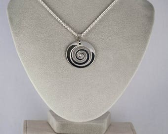 Spiral necklace on silver plated chain