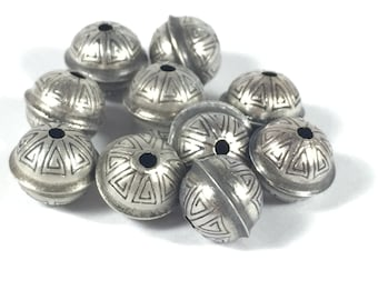 seamed beads, Sterling beads, oxidized beads, stamped tribal beads, 8mm beads, 1.5 mm hole, 10 pack, naive style