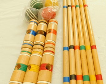 Vintage Croquet 6 Player Set, Mint Condition, Vintage, Wooden Balls, Mallets, End Posts, Painted Wood Stand, 9 Wickets, Sportcraft Toy, Old