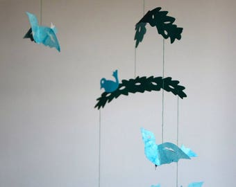 """Mobile kirigami """"beautiful birds on branches"""""""