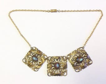 Antique Saphiret stone necklace with oval shaped stones and Art Nouveau gilt filigree with later chain.