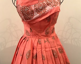 Alfred Shaheen coral pink painted cotton dress 1950s