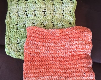 Two Crocheted  Dishcloths  8 Inches Hot Pads