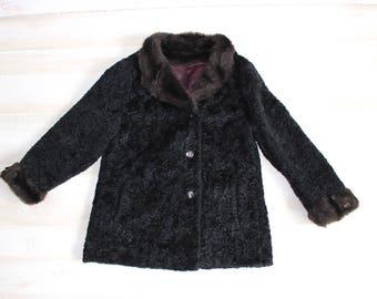 Vintage 60s Black Faux Fur Coat, 1960s Persian Lamb Jacket, Princess, Mink, Fur Collar