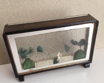 Diorama asiatique Vintage Shadowbox livraison gratuite