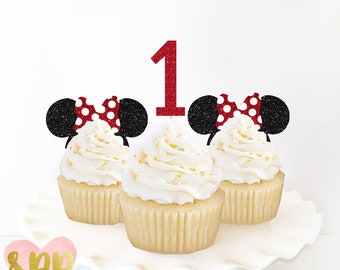 Minnie Cupcake Toppers -- birthday smash oh baby shower bridal gender reveal babies girl mickey pink disneyland minnie mouse party cupcake