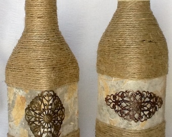 Bottle Art, Decorated Bottles, Decorative Bottles, BOHO, Decorative Jars, Flower Vases, Unique, Upcycled, Repurposed, Shabby, Metal Filigree