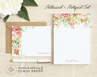 Personalized Stationery Set / Notecard and Notepad Stationary Set / Floral Women's Cute Cards // ROSECLIFF FLORALS 2-SET / Flat + Pad