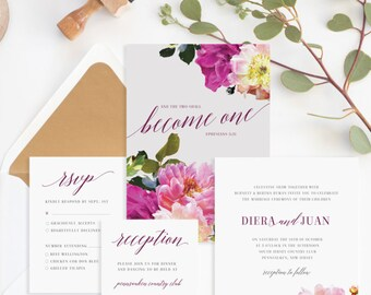 Christian Wedding Invitation • Christian Marriage •Two Become One Bible Verse • Religious Wedding Invitation