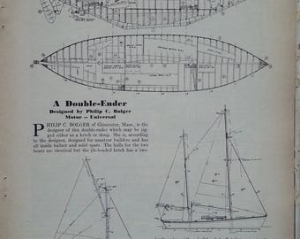 Boat blueprint etsy boat lovers gift of boat building plans for double ender ketchsloop malvernweather Choice Image