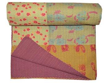 Indian Vinatge Kantha Quilt, Patchwork Quilt , Blanket, Bed spread, Coverlet, Floral Throw, Handmade Cotton Kantha Bed-cover, 90x108 inch