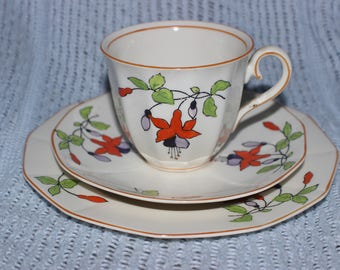 Vintage Trio by Myott & Son Cup Saucer and Cake Plate