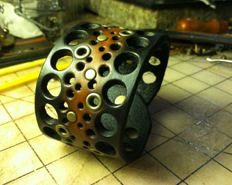 Punched Leather Cuff With Eyelets