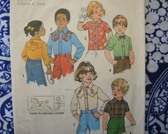 vintage 1970s simplicity sewing pattern 7685 childs shirt with embroidery transfer size 3-4