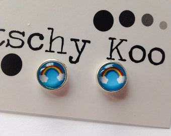 FREE SHIPPING - Blue Sky Rainbow Earrings - Surgical Steel - Rainbow Jewelry - Free Postage - Rainbow Earrings - Rainbow Studs