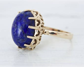1970s Cocktail Ring, Vintage Sodalite Ring, Bold Gemstone Ring, Navy Blue and Gold Jewelry, 14k Yellow Gold Statement Ring, Size 5.75