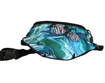 Fanny pack Ocean Sea Dolphin fabric - Cute  - Hip Waist Bag - 2 Zippers