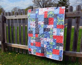 Baby Girl Quilt - Modern Patchwork - Baby Blanket -- Bright Colors - Purple, Pink, Coral, White, Gray - Baby Shower Gift