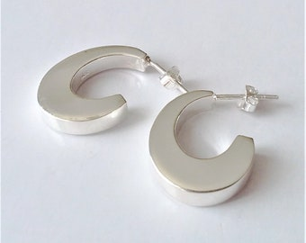 Sterling Silver 4 Sided Smooth Hoop Earrings, Stud Earrings, Small Silver Hoop Earrings, Boho Jewelry, Minimalist Modern Style.