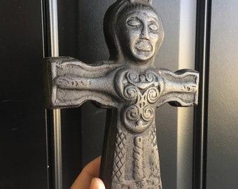 "Vintage Irish Robed Christus Cross Sculpture Wall Hanging 7th Century Ireland Irish Peat Ancient Relic Souvenir 9"""