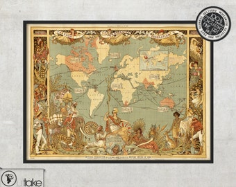 Old maps - Home decor - The World of Imperial Federation (1886), 017