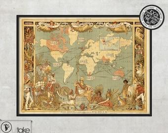Retro world map print - World map print - Wall world map - Vintage wall map - LARGE Fine Art archival Print - 017