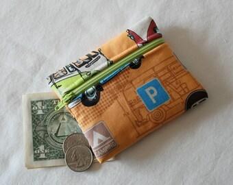 Coin Purse, Zipper Pouch, Change Purse, change pouch, wallet, British, camper, bus, transportation, London, whimsical, hippie