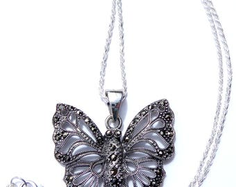 Sterling Silver Butterfly Necklace, Sterling Butterfly Pendant, Sterling Marcasite Butterfly Pendant, Sterling Silver Butterfly Necklace