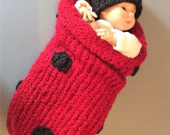 Newborn Ladybug Cocoon and Hat