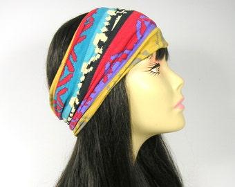 Aztec Head Wrap Boho Head Wrap Tribal Print Headband Tribal Print Head Wrap Unisex Headband Unisex Head Wrap Yoga Head Wrap Yoga Headband