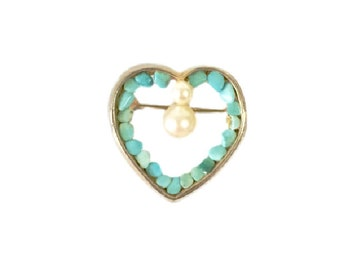 Vintage Gold Toned Turquoise and Pearl Heart Shaped Pin