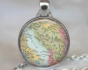 Yugoslavia map necklace, Yugoslavia map pendant Slovenia Croatia Serbia map necklace map jewelry map key chain key ring key fob