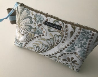 Stand Up Paisley Embroidered Zip Pouch