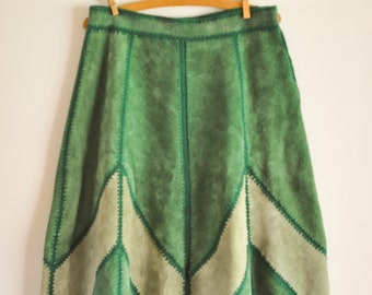 Vintage Shades of Green Suede Skirt