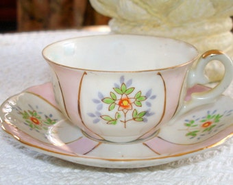 Demitasse Cup & Saucer Vintage Hal's Sey (Halsey) Fifth Avenue Pink White Floral Panels Hand Painted Accented Gold