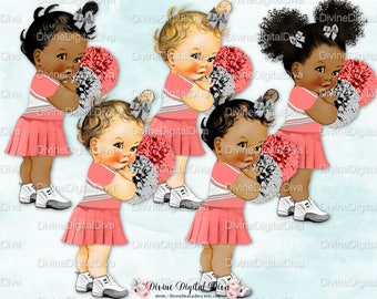 Cheerleader Coral Gray Uniform & Pom Poms |  Vintage Baby Girl | 3 Skin Tones | Clipart Instant Download