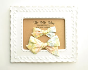Vintage Yellow Floral Schoolgirl Hair Bow - Hand-tied hairbow-Evy bow -Cotton Baby Headband - Newborn Hairbow - Toddler Hair Clip