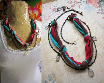 Upcycled Tri-Color Knotted Fabric Glass Beaded Chain Necklace