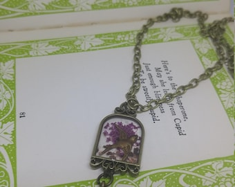 Birdcage - handmade bronze birdcage resin necklace with bird charm and dried flowers
