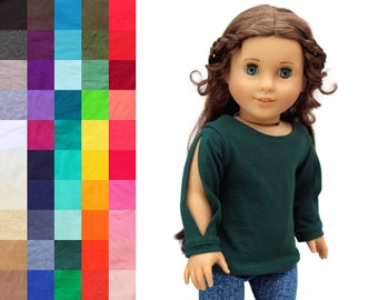 Fits like American Girl Doll Clothes - Split Sleeve Tee, You Choose Color | 18 Inch Doll Clothes