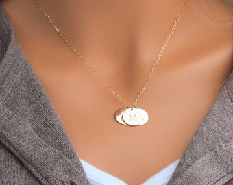 Initial Necklace, Gold Initial Disc Necklace, 14k Gold Filled, Gold Disc Necklace, Personalized Jewelry, Mother's Day gift, Choose 1-5 Discs
