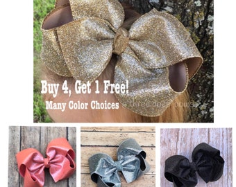"6""+ Gold Hair Bows, Gold Bows, Glitter Bows, Big Southern Bows. Gold Hairbows, Big Gold Hair Bow, Glitter Bows, Bows for Big Girls, Big Bows"