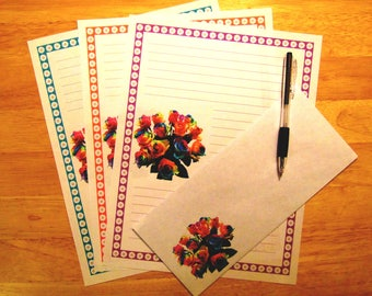 Rainbow Roses Letter Paper - Lined Stationery Set With Envelopes - Snail Mail Pen Pal Letters - Stationary Writing Paper