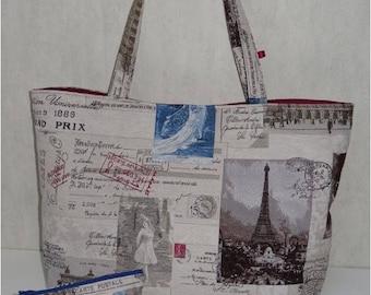 Large Jolitissu pattern Paris tote bag