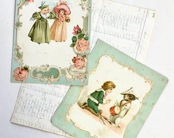 Victorian Embossed Color Print Lithograph Children Dog Illustration