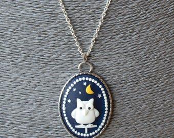 Owl Pendant, Owl Necklace, Night Owl, Cute Cartoon Owl, Owl Cameo